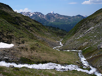 Swollen streams on ascent to Hourquette d'Arre